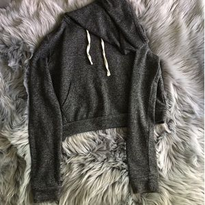 Sweaters - Heather Dark Grey Cropped Hoodie